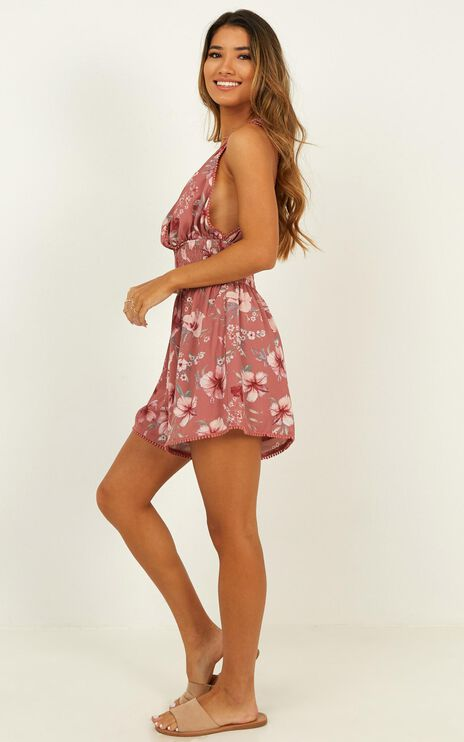 Sing With Me Playsuit In Rose Floral Print
