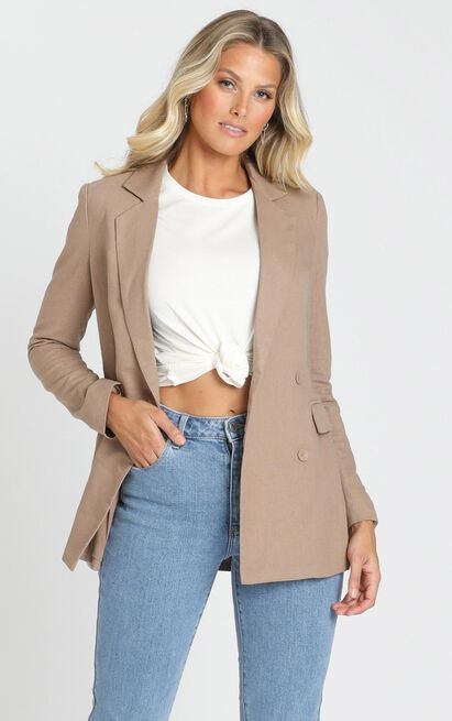 Changing My Mind Blazer In mocha linen look - 20 (XXXXL), Mocha, hi-res image number null