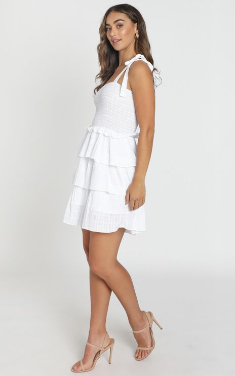 Paislee Tied Dress in White