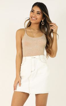 Cutting Edge Denim Skirt In White