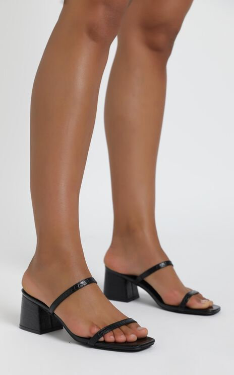 Therapy - Goldie Heels in Black Croc