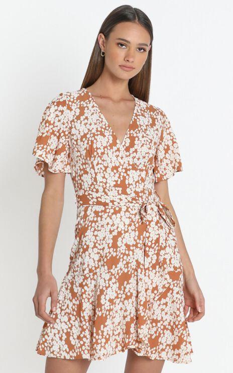 Aryana Dress in Tan Floral