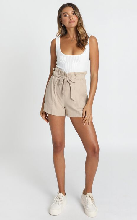 All Rounder Shorts In Beige Linen Look