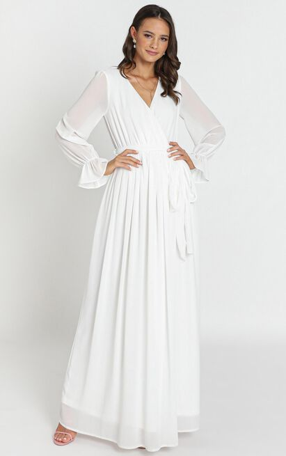In Love Long Sleeve Maxi Dress in white - 12 (L), White, hi-res image number null