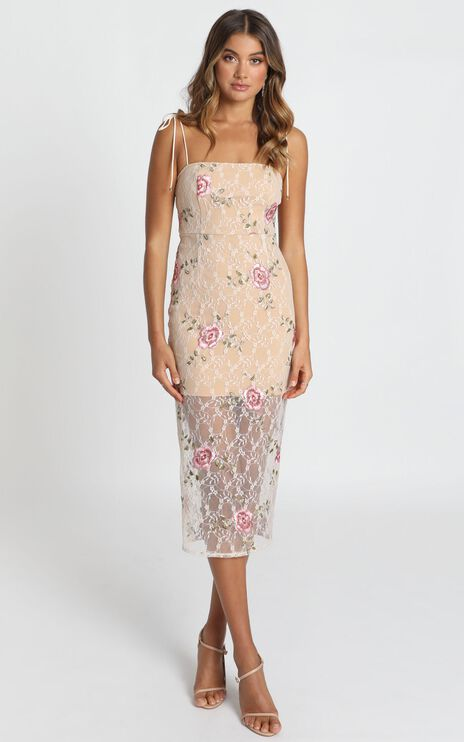 Can We just Talk Dress In Beige Floral Lace
