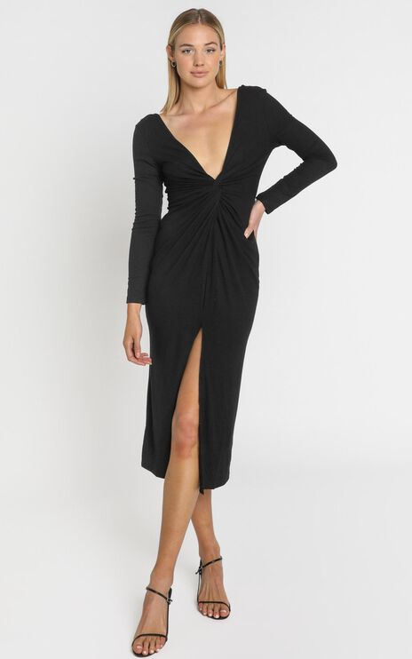 Prime Dress in Black Rib