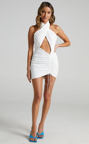 Sorcha Halter Neck Mini Bodycon Dress in White