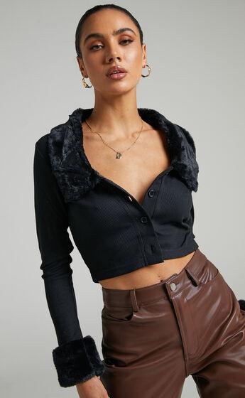 Flynne Cardigan in Black Faux Fur
