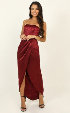 Dream Of You Dress In Wine Jacquard