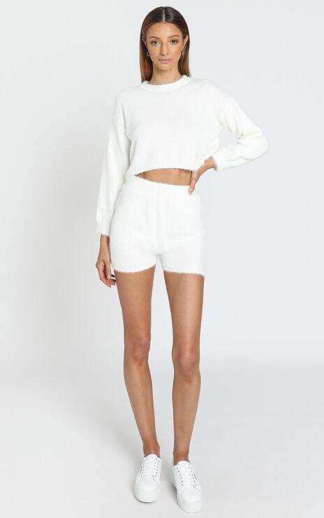 Loretta Fluffy Knit Two Piece Set in White