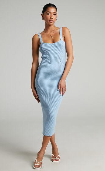 Andera Knit Midi Day Dress in Cornflower Blue