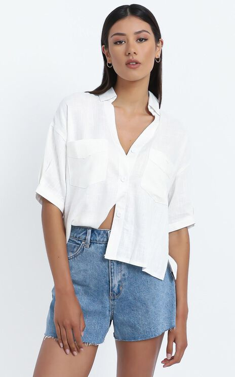 Scarlett Cropped Shirt in White