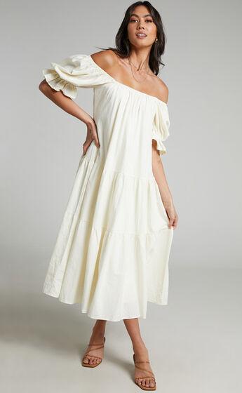 Zaharrah Tiered Midi Dress in Cream Linen Look