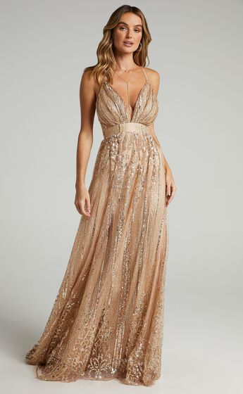 Start Strong Maxi Dress in Rose Gold