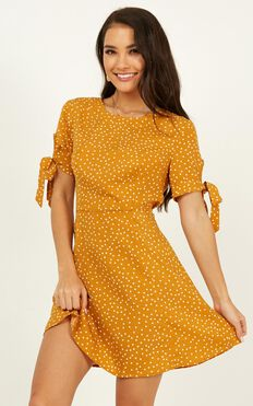 Win You Over Dress In Mustard Polka