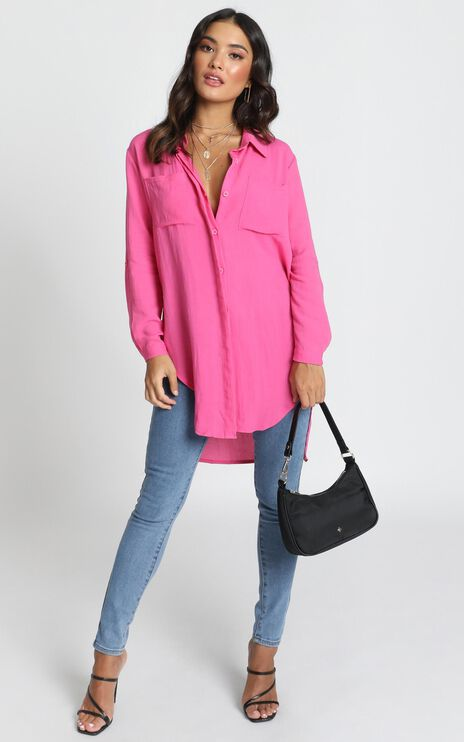 Trish Button Up Shirt In Hot Pink