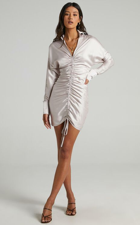 Cordyline Dress in Champagne Satin