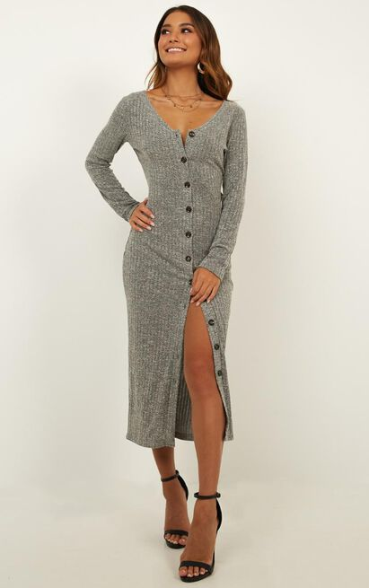 By the Bonfire Dress In grey marl - 20 (XXXXL), Grey, hi-res image number null