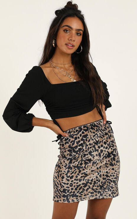 Disco Yes Skirt In Leopard Print Velvet