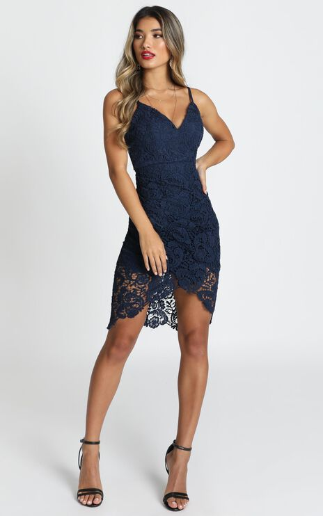Typical Lover Dress In Navy Lace