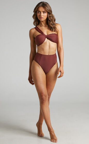 Azul Twist Front One Shoulder Bikini Top in Chocolate