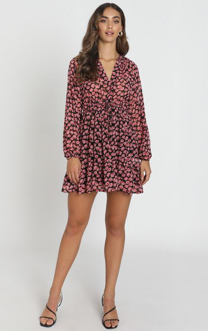 Petra Chiffon Smock Dress in black floral - 6 (XS), Black, hi-res image number null