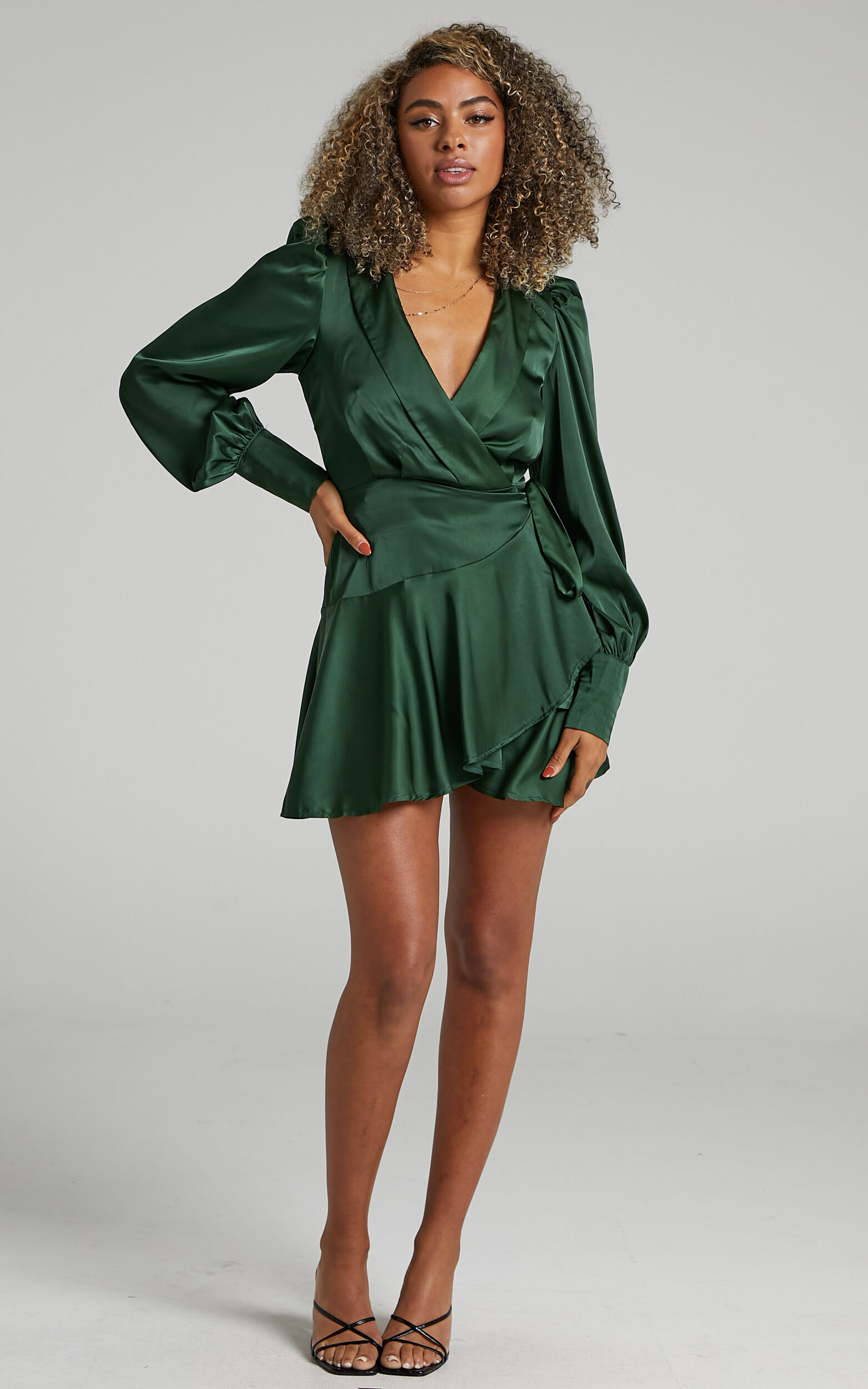 Breeana Wrap Mini Dress in Emerald - 04, GRN3, super-hi-res image number null
