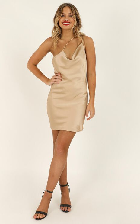 Dreaming Of Love Dress In Champagne Satin