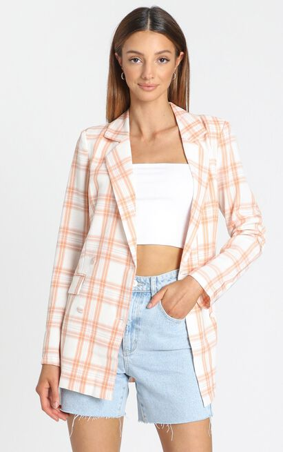 Quick To Win Blazer in peach check - 14 (XL), Pink, hi-res image number null