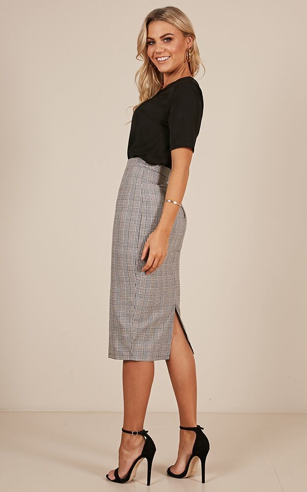Director Skirt in grey check - 18 (XXXL), Grey, hi-res image number null