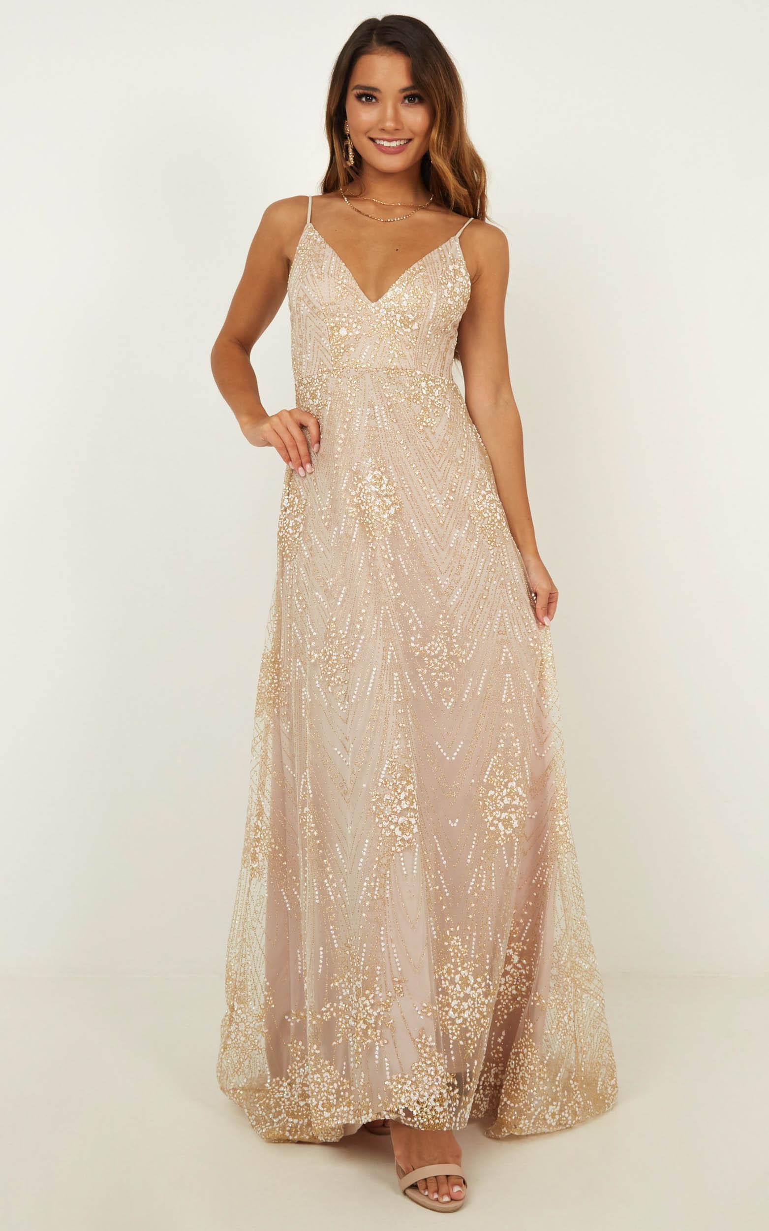 Called Out Dress In Gold Sparkle - 20 (XXXXL), Gold, hi-res image number null