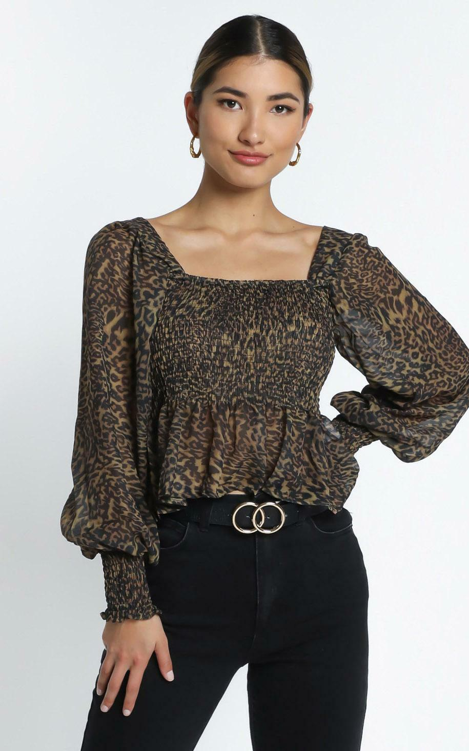 Reeve Top in Leopard - 14 (XL), Brown, hi-res image number null