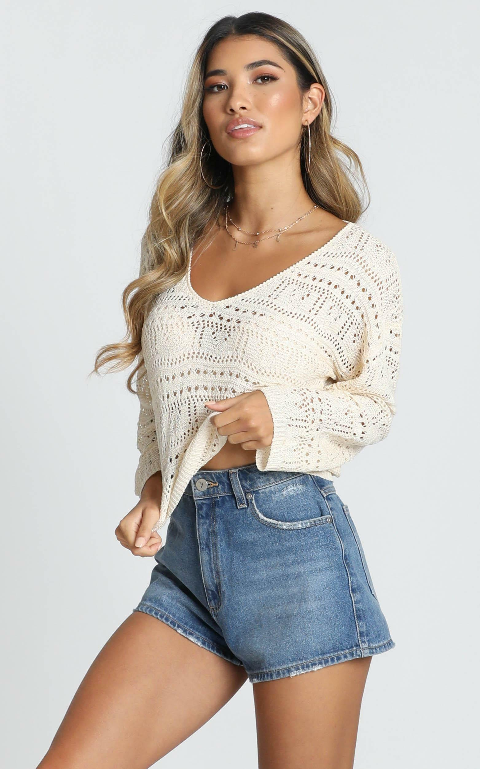 Falling Dreams Knit Top In cream crochet - 20 (XXXXL), Cream, hi-res image number null