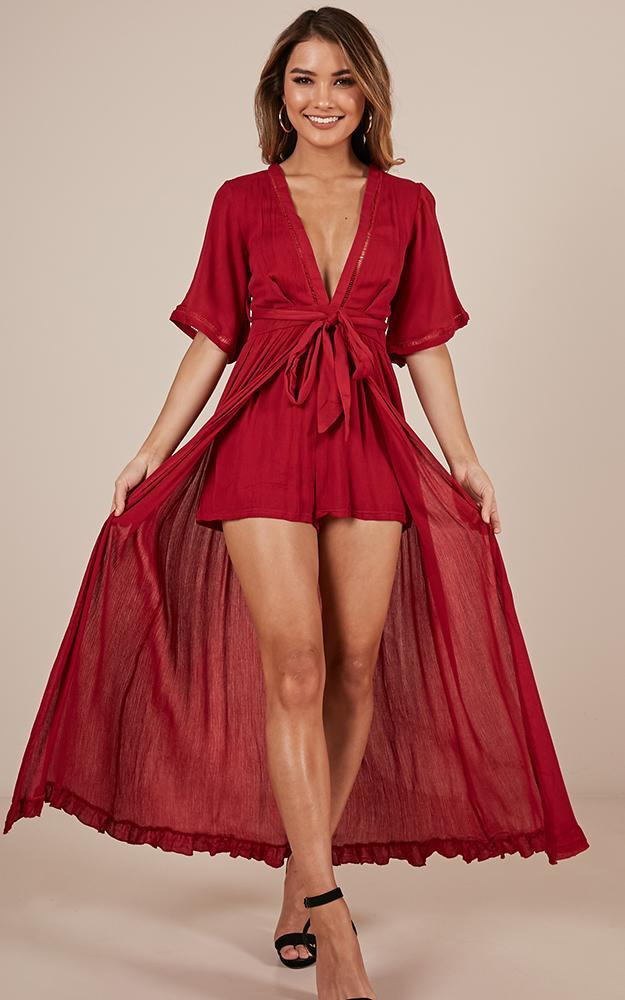 Sweet Smile maxi playsuit in wine - 20 (XXXXL), Wine, hi-res image number null