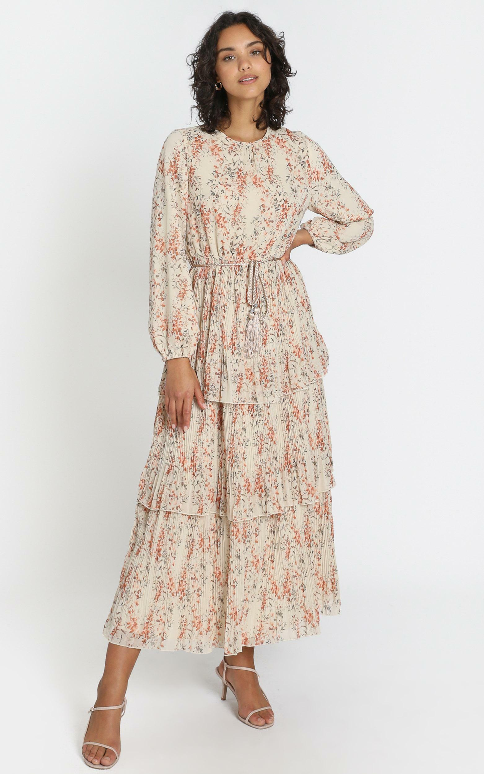 Arianna Dress in Beige Floral - 6 (XS), Beige, hi-res image number null