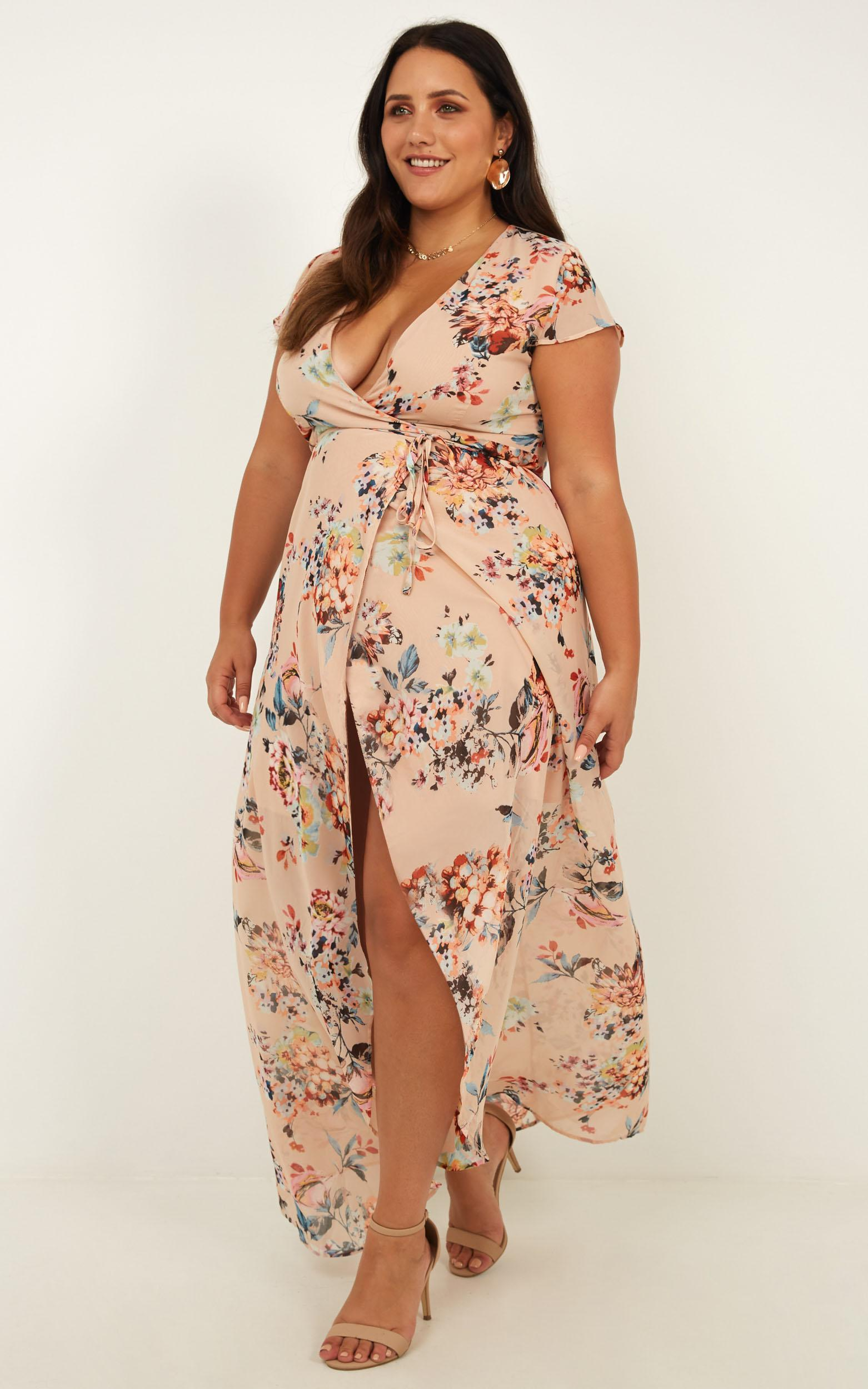 Wrap And Cross Maxi Dress in blush floral - 6 (XS), Blush, hi-res image number null