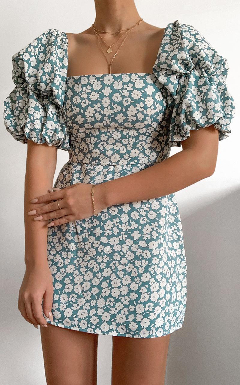 Parisian Spring Dress in Blue Floral, Blue, hi-res image number null