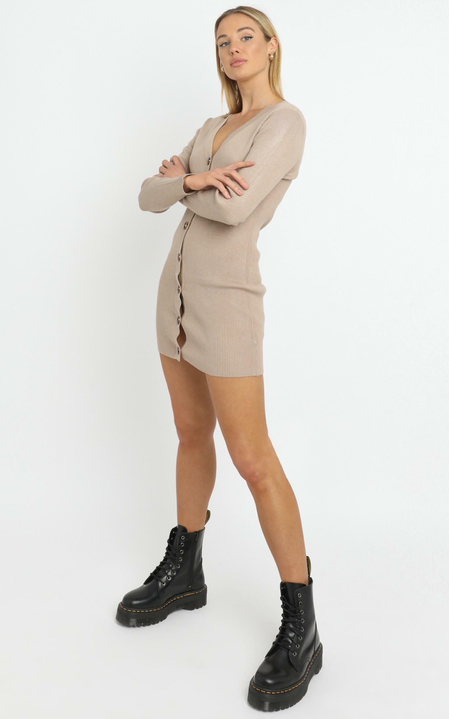 Earie Knit Dress in Beige, Beige, hi-res image number null