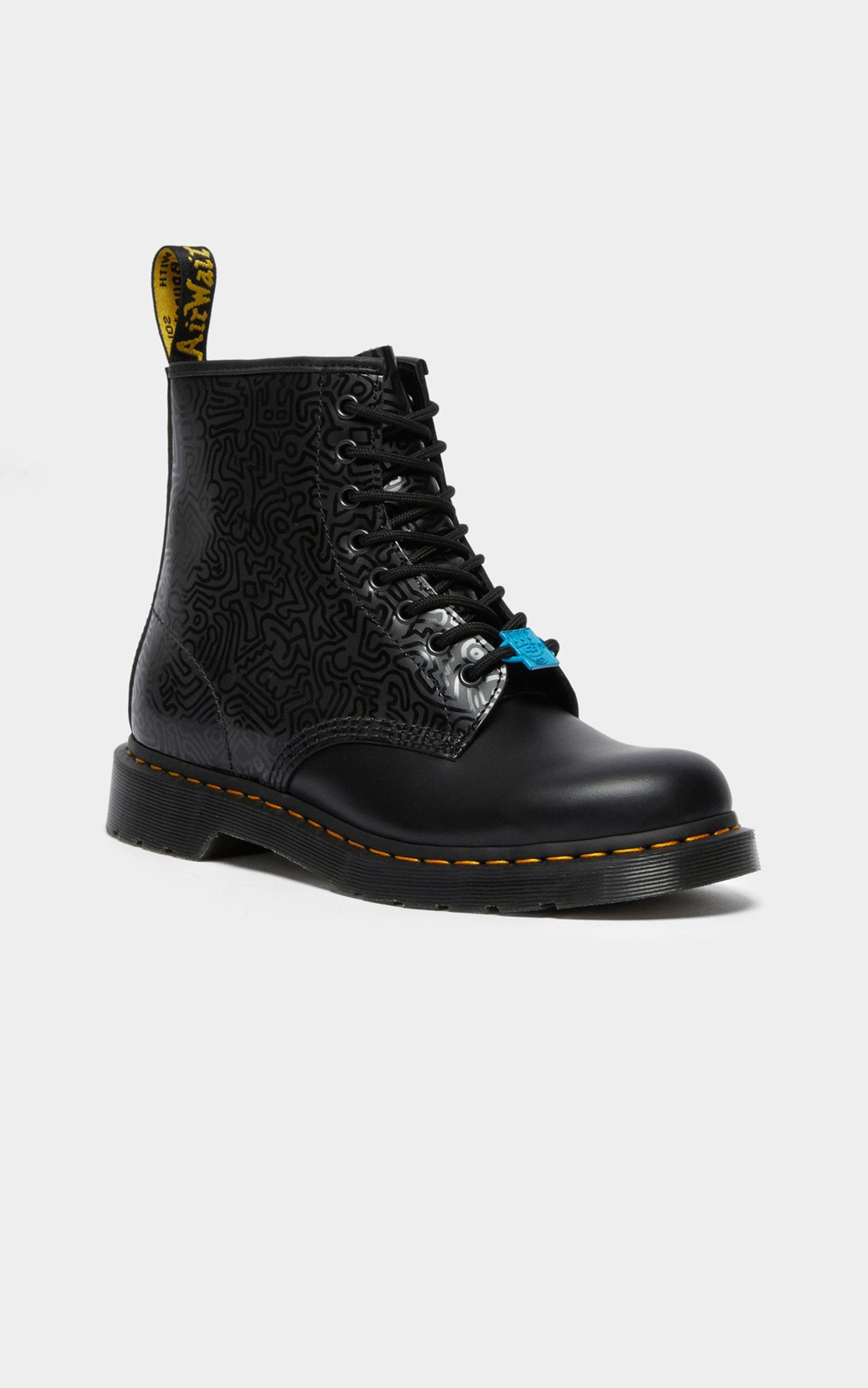 Dr. Martens - 1460 Keith Haring 8 Eye Boot in Black Smooth, Black, hi-res image number null