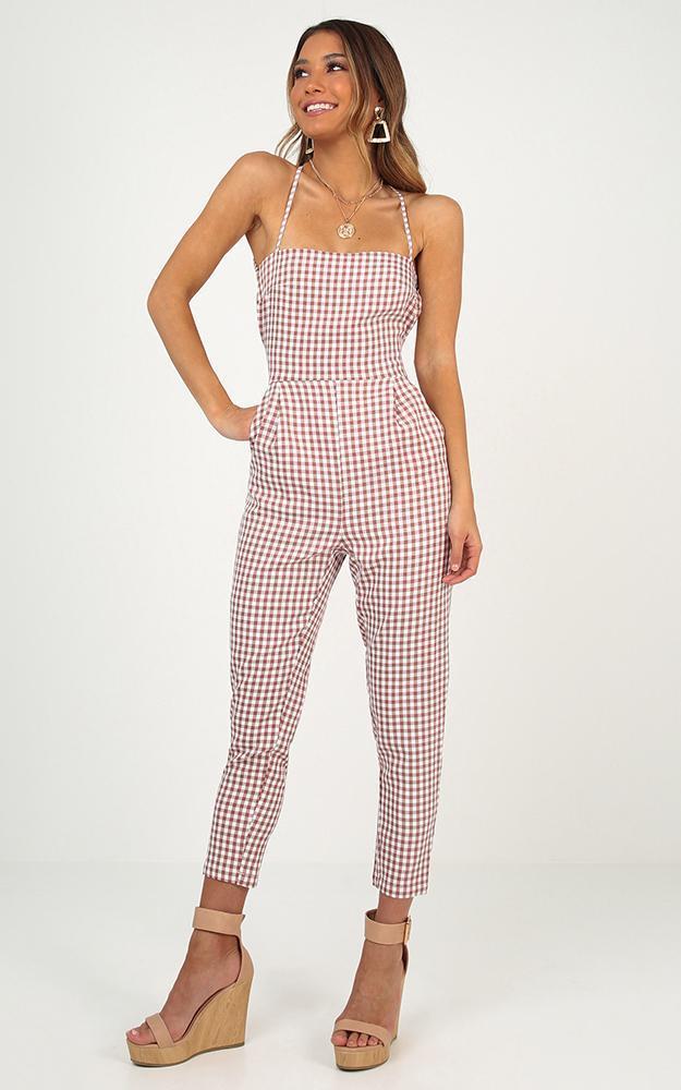 Little liar jumpsuit in blush gingham - 14 (XL), Blush, hi-res image number null