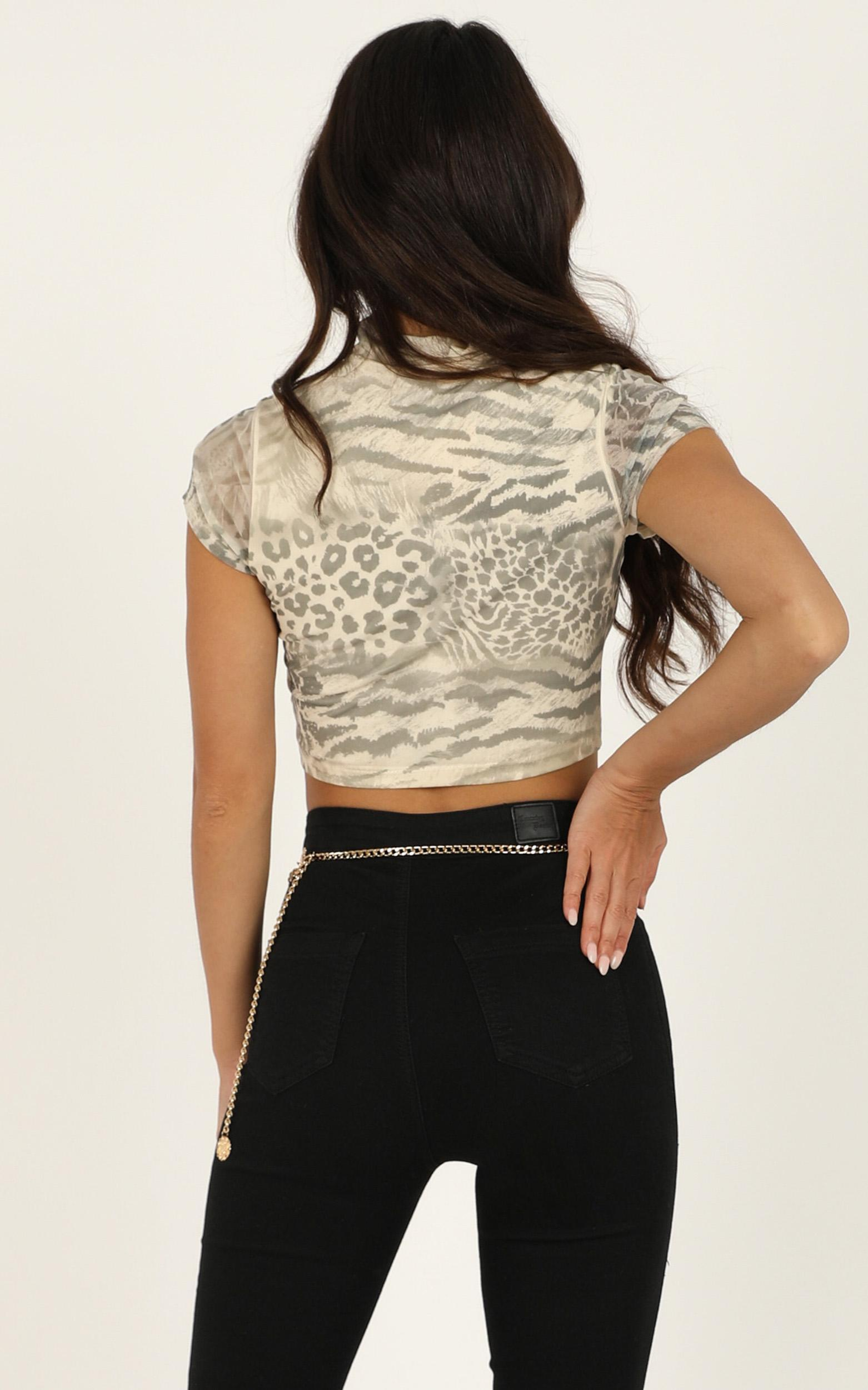 Holding Out For You top in snake print - 12 (L), Grey, hi-res image number null