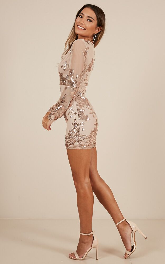 Front And Centre dress in gold sequin - 14 (XL), Gold, hi-res image number null