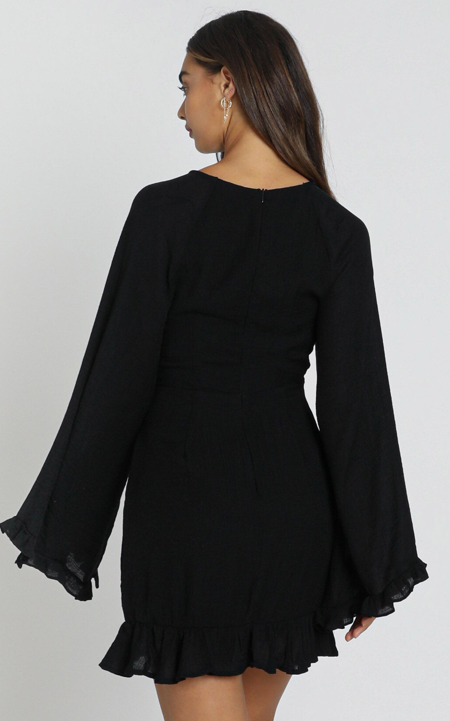 Ophelia Tie Front Dress in black - 6 (XS), Black, hi-res image number null