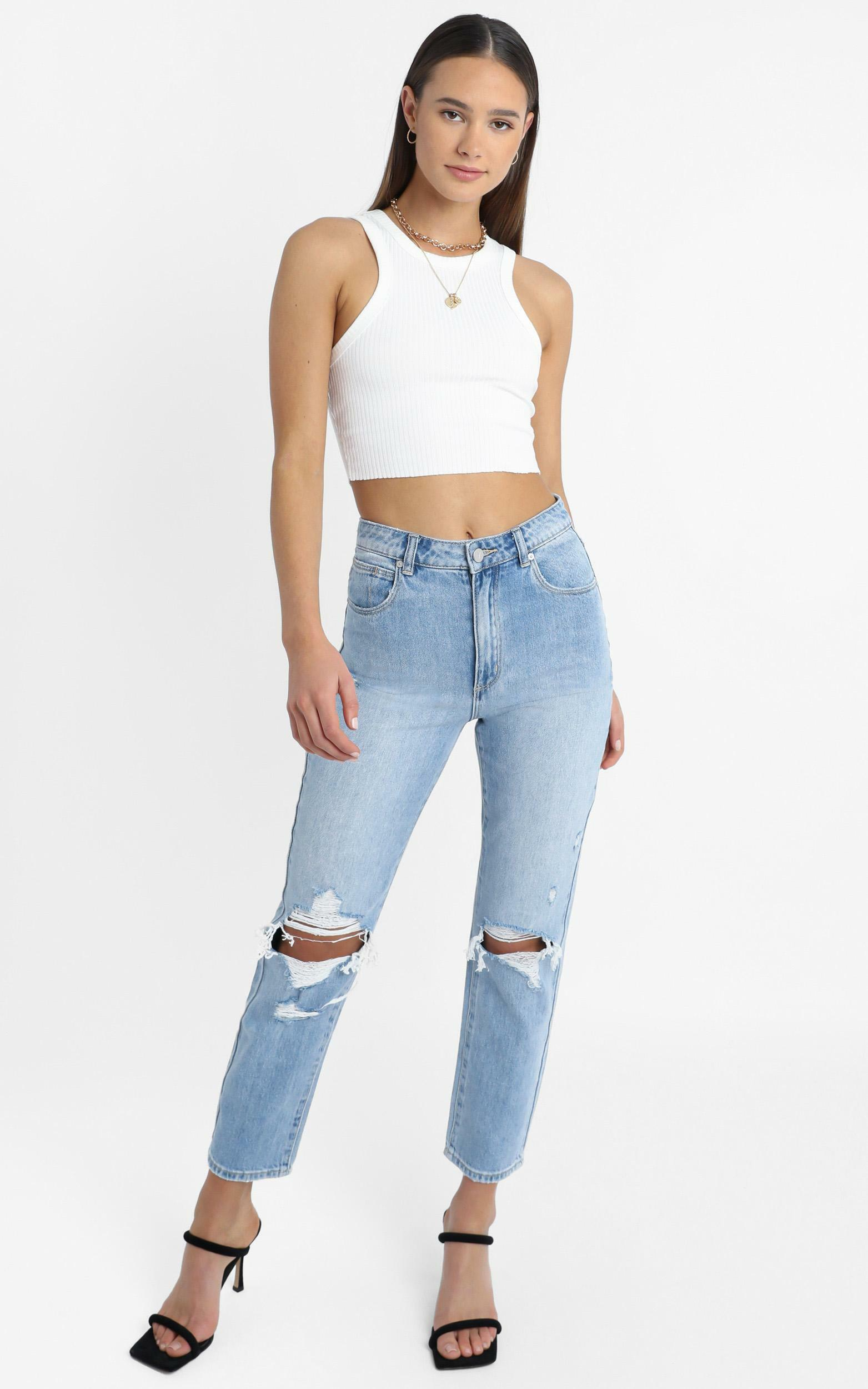 Abrand - A 94 High Slim Jean in Wildlife - 14 (XL), Blue, hi-res image number null