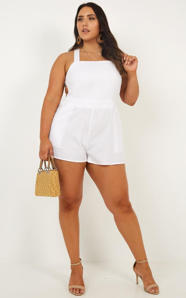 Kings Court Playsuit in white linen look - 20 (XXXXL), White, hi-res image number null