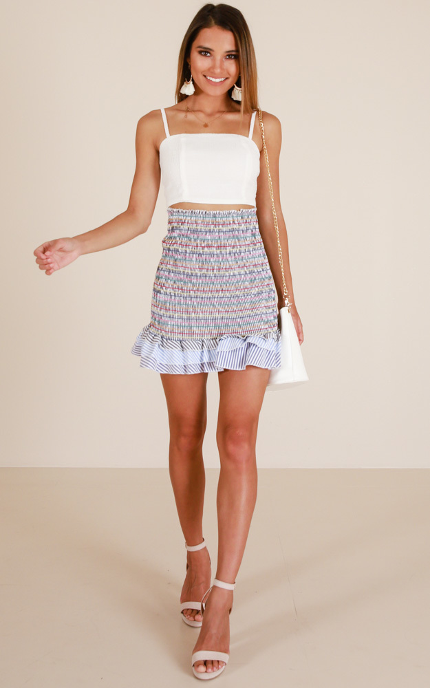 Like A Daydream skirt in blue stripe - 12 (L), Blue, hi-res image number null