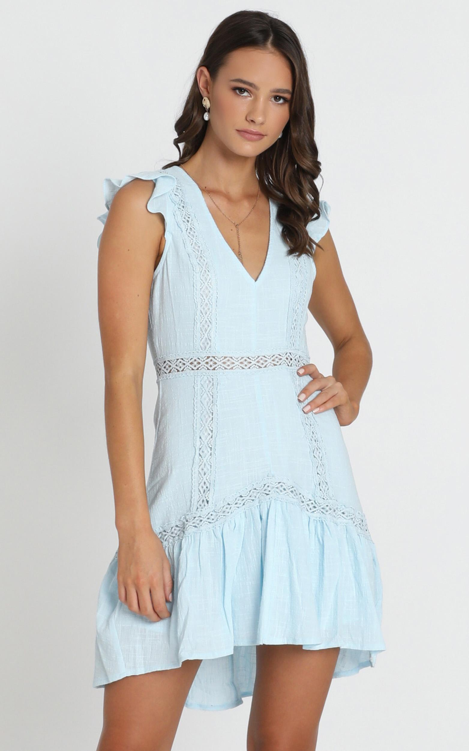 Maxine Mini Dress in blue embroidery - 12 (L), Blue, hi-res image number null