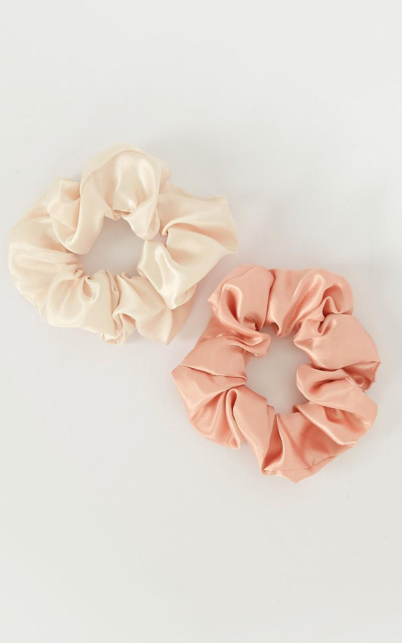 Only Lovers Know Scrunchie 2 Pack In Blush Satin, Blush, hi-res image number null
