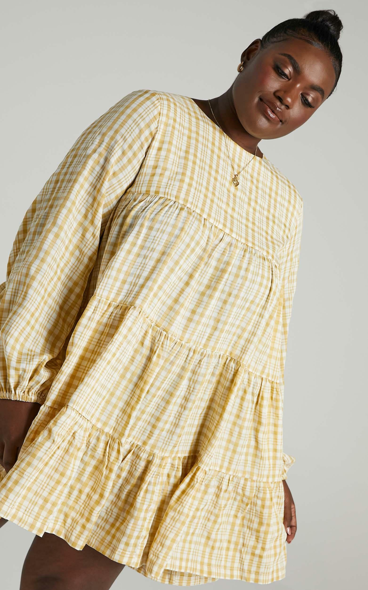 Ellora Dress in Yellow Check  - 6 (XS), Yellow, hi-res image number null