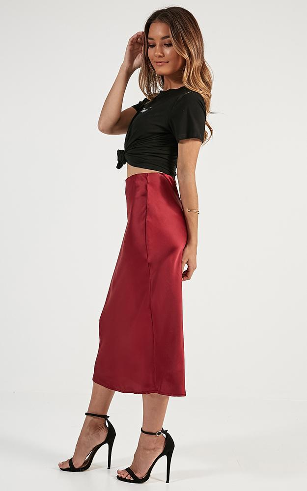 Space Odyssey midi skirt in wine satin - 14 (XL), Wine, hi-res image number null